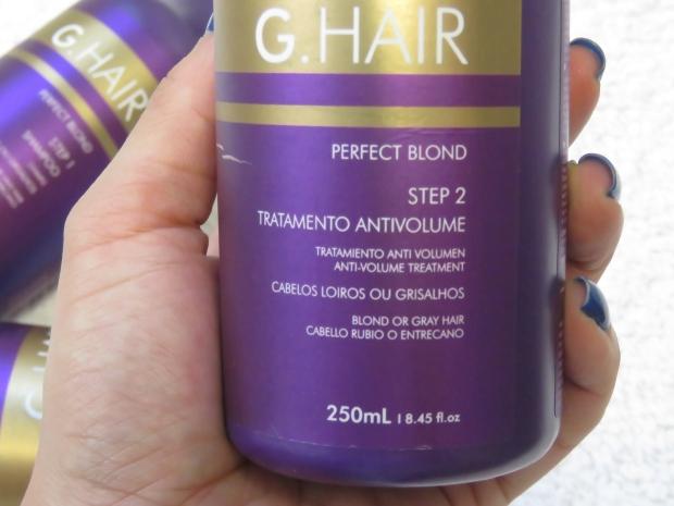 754a5179c Tratamento Antivolume G-Hair Perfect Blond. IMG_0857. Composição do redutor  de volume
